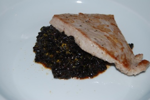 Tuna, black rice, cherry/beetroot sauce with spice
