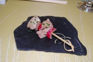 Amuse Bouche radish with chicken liver