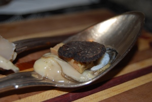 oysters, foie gras and truffles