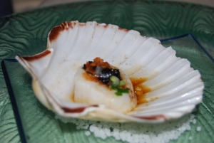 scallop with black sesame