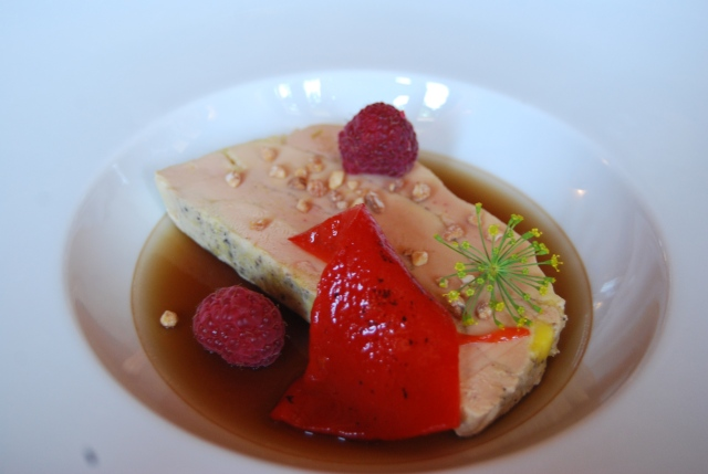 Foie gras with raspberries and red bell pepper