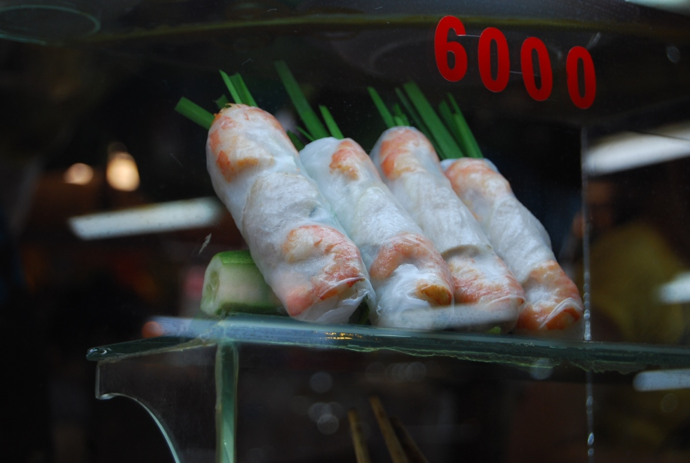 lined up spring rolls